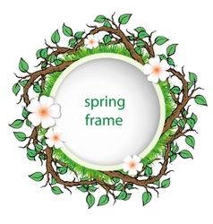 spring frame with grass and leaves vector image