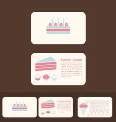 cakes business cards and promotional cards vector image