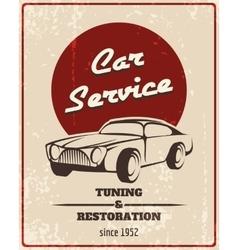 Car service retro poster vector image