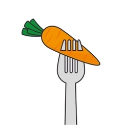 carrot vegetable fork vector image vector image