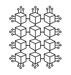 Cube with circuits network of communicatig bitcoin vector