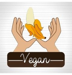 hand food vegan fruit vector image vector image