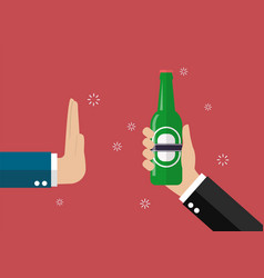 hand gesture rejection a bottle of beer vector image