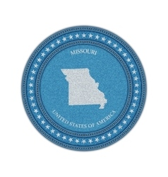Label with map of missouri Denim style vector image vector image