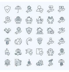 Line insurance service icons set vector