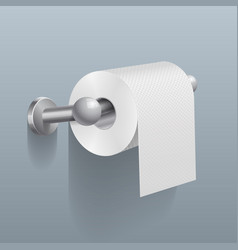 white toilet paper roll serviette on wall vector image