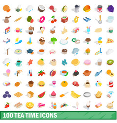 100 tea time icons set isometric 3d style vector