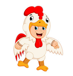 a boy wearing rooster costumes vector image