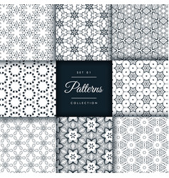 abstract pattern set in 8 different styles vector image