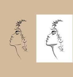 african woman portait digital sketch hand vector image
