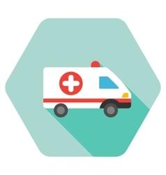 Ambulance Car Flat Hexagon Icon with Long Shadow vector