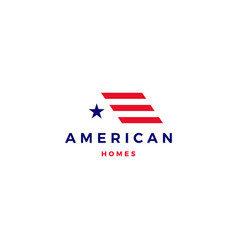 American flag house home mortgage logo icon vector