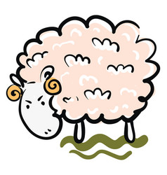 An angry ram with pink wool looks cute or color vector