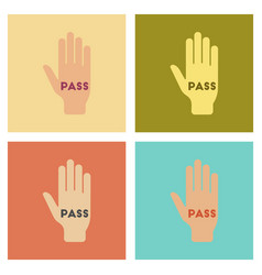 Assembly flat icons poker hand pass vector