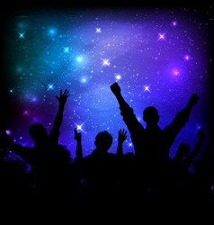 Audience on galaxy night sky background vector