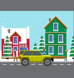 automobile on background winter cityscape with vector image