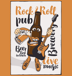 Banner for rock-n-roll pub with funny beer bottle vector