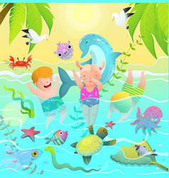 beach vacations for children in tropical paradise vector image