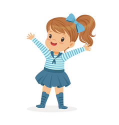 Beautiful little girl character wearing a sailors vector