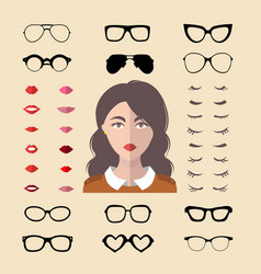 big set of dress up constructor with vector image