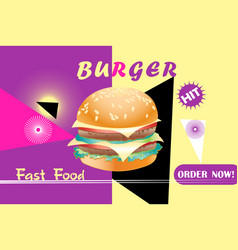 bright poster a burger with cheese vector image