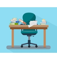 Busy cluttered office table Hard work vector