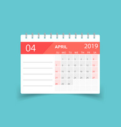 calendar april 2019 year in paper sticker with vector image