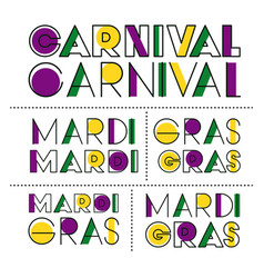 carnival mardi gras sticker text set vector image