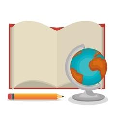 cartoon book open globe pencil design vector image