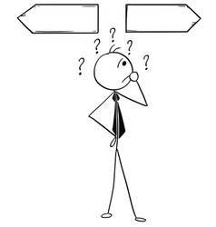 cartoon of business man on the crossroad vector image
