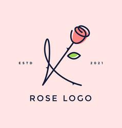 Charming initial rose flower k vector