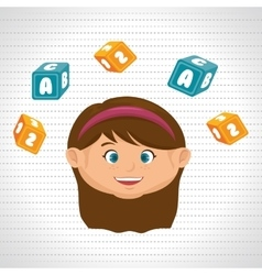 child girl cartoon cubes alphabet letters vector image