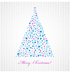Christmas background with star fir-tree vector image
