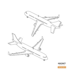 civil isometric aircraft in outline style vector image