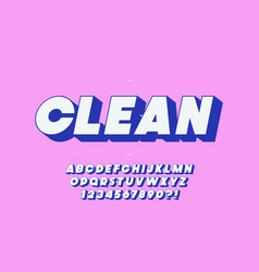 clean 3d bold font for decoration vector image