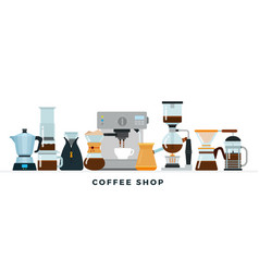 coffee shop collection in flat vector image