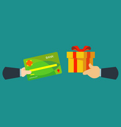 credit card to shopping online and receive a gift vector image