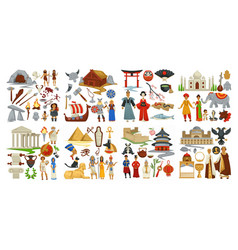 Culture and symbols greek and japanese chinese vector