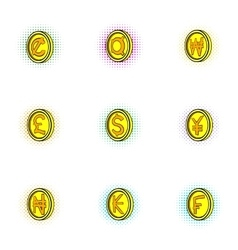 Currency icons set pop-art style vector image