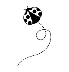 cute flying ladybug animal cartoon vector image