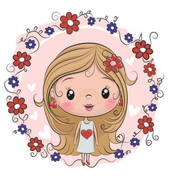 Cute girl on a flowers background vector