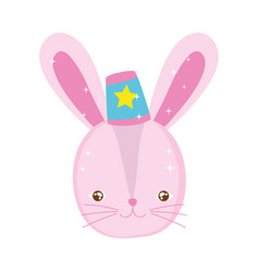 cute rabbit circus with hat vector image