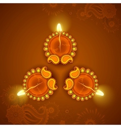 Decorated diya for diwali holiday vector