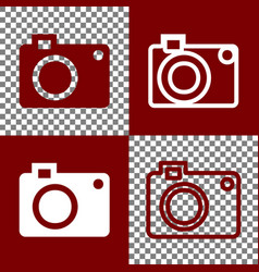 digital camera sign bordo and white icons vector image vector image
