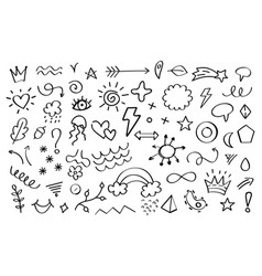 Doodle elements arrows flowers leaves and stars vector