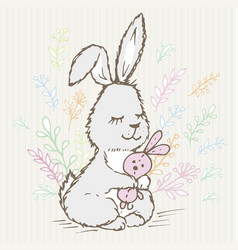 Doodle rabbit little hugs a hare toy and around vector