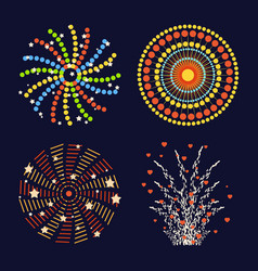 Firework different shapes colorful festive and vector