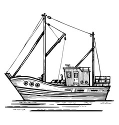 fishing boat sketch hand-drawn vector image