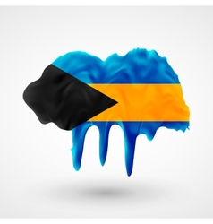 Flag of Bahamas painted colors vector