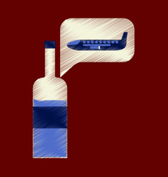 flat icon in shading style airplane wine vector image